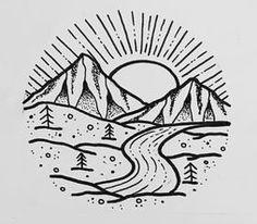 Doodle Tattoo, Doodle Drawings, Doodle Art, Tattoo Drawings, Tattoo Art, River Drawing, Circle Drawing, Circle Art, Mountain Landscape Drawing