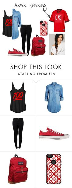 """""""Friday Night Lights"""" by wolfiedeeleemtz ❤ liked on Polyvore featuring Jack & Jones, Noisy May, Converse, JanSport, OtterBox and Free People"""