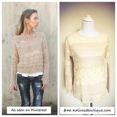 Lace stripe sweater in store at Kali Rose Boutique