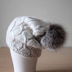 Fox fur pom pom hat Cable knit pom pom hat by HatsAndOtherStories