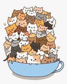 Count how many times to do it by how many cats there are in the cup! )A cup of strong catachino.) And some kawaii neko atsume kitties! Chat Kawaii, Kawaii Cat, Kawaii Shop, Kawaii Stuff, Kawaii Things, I Love Cats, Crazy Cats, Cute Cats, Funny Cats