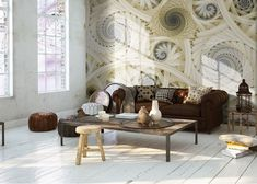 Photo mural wallpapers for home walls by homewallmurals.co.uk. Height 254cm Width 366cm. Check our range of giant wall murals. Worldwide shipping. Yellow Spirals & Swirls.