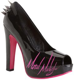 Metal Mulisha Maidens LOVEMACHINE PUMPS! Black and hot pink pumps with spikes. spiked heels. $64.00