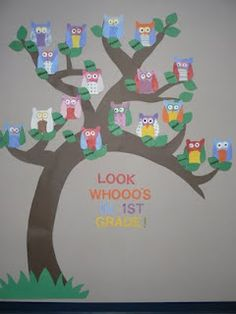 Great bulletin board idea for the beginning of school -- I& not rushing Mac& college but I can& wait to help decorate her first classroom - oh my! Owl Theme Classroom, Classroom Door, Classroom Design, Classroom Displays, School Classroom, Classroom Organization, Classroom Ideas, Future Classroom, Kindergarten Classroom