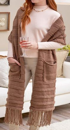 Free Knitting Pattern for Posh and Pocketed Super Scarf - This extra long scarf by Jean Guirguis features fringe as well as optional pockets. Quick knit in bulky / chunky yarn.