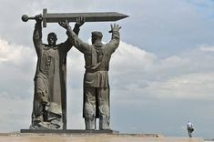 """Magnitogorsk - a monument """"Rear for the Front."""" This monument is part of the triptych, consisting of the monuments """"Motherland"""" in Volgograd and """"Warrior-Liberator"""" in Berlin. The common for all monuments is the sword. A symbol of punitive force. At first the sword was forged by the Ural worker and handed over to the soldier (""""The rear for the front""""). Then Motherland summoned him up, and then the Warrior-Liberator cut the swastika and ended the defeat of Germany."""