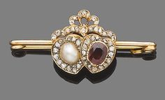 A late 19th century half-pearl, garnet and diamond brooch.  The oval mixed-cut garnet and the oval half-pearl each within a heart-shaped surround, set with rose-cut diamonds, to a similarly-set surmount, to a later pin, length 5.5cm
