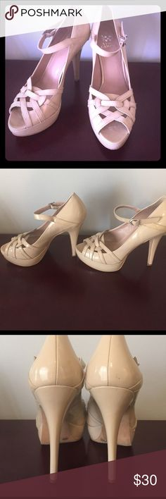 Vince Camuto Taupe patten stiletto heel with platform ankle strap and open toe detailing. Beautiful shoe. Paid full retail and only worn 2/3x. Very minor wear pictured. Vince Camuto Shoes Heels