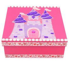 Caja de madera color rosa / Fiestas infantiles / Día del niño