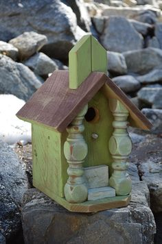 Birdhouse Chickadee Church Shelf Sitter Functional Decorative Bird House Rustic Birdhouses Patio Yard Art Garden Essentials Free Shipping. $65.00, via Etsy.