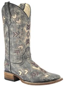 d3c0913595fd7 Circle G Distressed Black Arrowhead Cowgirl Boots - Square Toe