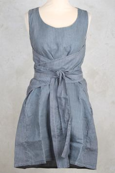 Apron Style Wrap Dress with Tie in Baby Blue Stripe - Privatsachen