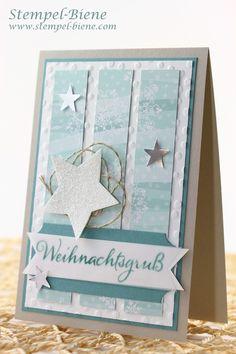 Stampin Up Winterliche Weihnachtskarte, Stampin Up Weihnachtstrio, Stampin Up Besonderes Designerpapier Stille Nacht, Stampin Up Weihnachtsworkshop