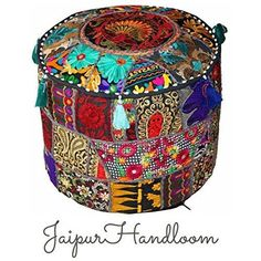 Mango Gifts Black Indian Pouf Stool Vintage Patchwork Embellished With Patchwork Living Room Ottoman Cover, 46 X 33 Cm or inches Ottoman Cover, Pouf Ottoman, All You Need Is, Boho Duvet Cover, Tapestry Bedding, Round Floor Pillow, Black Indians, Ottoman In Living Room, Clothes Crafts