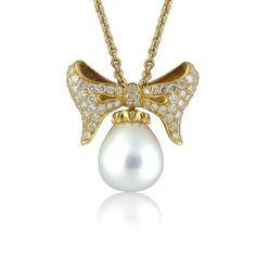 Morelli 18k Yellow Gold Pearl Diamond Necklace