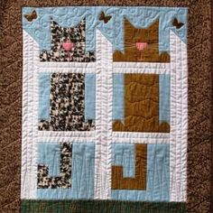 Cats on the Fence lap quilt or wall hanging