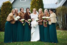 Brides in teal and faux fur