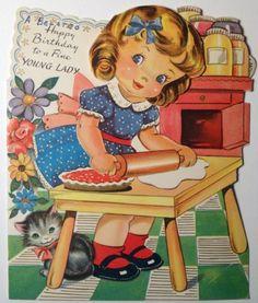 Vintage Birthday Cards, Vintage Greeting Cards, Vintage Valentines, Birthday Greeting Cards, Vintage Postcards, Clip Art Vintage, Images Vintage, Vintage Pictures, Retro Kids