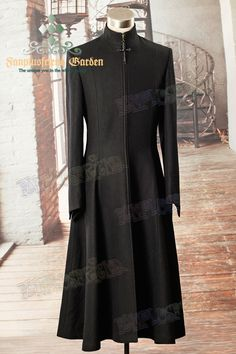 Medieval Priest, Elegant Gothic Aristocrat Large Cross Wool Long Coat