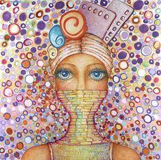 """Salome Hidalgo, """"Gitana XXIV"""", technika mieszana/ mixed media on canvas, year: 2012, 120cm x 120cm"""