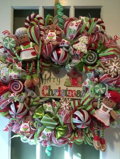 XMAS GINGERBREAD HOUSE ARRANGEMENT/WREATH DECOR MESH RIBBON FAKE CANDY CANE