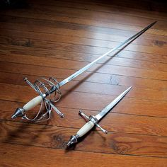 Chance's Rapier and Dagger set Swords And Daggers, Knives And Swords, Rapier Sword, Sword Design, Landsknecht, Medieval Weapons, Weapon Concept Art, Fantasy Weapons, Cold Steel
