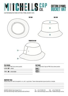 Custom Bucket Hat manufacturer Mitchell's Cap Co specialises in wholesale bucket hats for supply to major fashion brands. This bucket hat template is made available to make your custom design production easier. Hat Patterns To Sew, Sewing Patterns, Custom Bucket Hats, Hat Template, 5 Panel Hat, French Hat, Hat Tutorial, Crazy Hats, Diy Hat