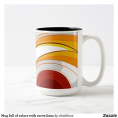 Mug full off colors with curve lines - red gifts color style cyo diy personalize unique Off Colour, Red Color, Modern Mugs, Curved Lines, Red Gifts, Red Fashion, Home Gifts, Personalized Gifts, Orange