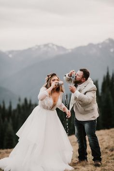 Hurricane ridge elopement with a celebratory beer shotgun! Wedding Picture Poses, Wedding Poses, Wedding Dresses, Wedding Ideas, Wedding Planning, Must Have Wedding Pictures, Wedding Shawls, Wedding Flower Photos, Wedding Decorations