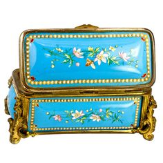 Antique French Kiln-fired Enamel Jewelry Casket, Box, Etui Tahan | From a unique collection of vintage enamel frames and objects at http://www.1stdibs.com/jewelry/objets-dart-vertu/enamel-frames-objects/