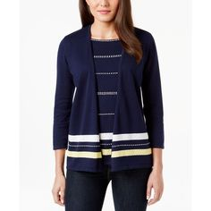 Alfred Dunner Three-Quarter-Sleeve Layered-Look Cardigan ($45) found on Polyvore featuring tops, cardigans, navy, layered tops, 3/4 length sleeve tops, three quarter sleeve cardigan, navy cardigan and 3/4 sleeve tops