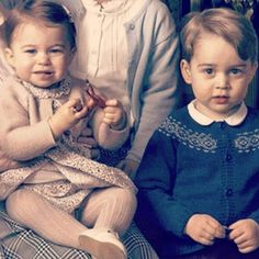 Princess Charlotte and Prince George in her majesty's birthday photos.