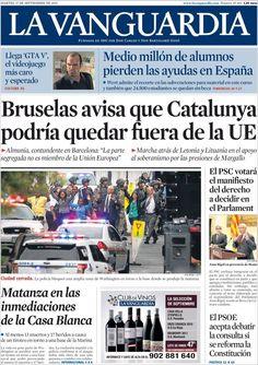 Los Titulares y Portadas de Noticias Destacadas Españolas del 17 de Septiembre de 2013 del Diario La Vanguardia ¿Que le pareció esta Portada de este Diario Español?