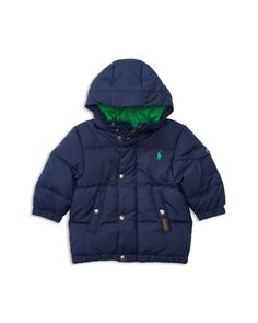 Ralph Lauren Childrenswear Infant Boys' Matte Finish Hood Down Puffer Jacket - Sizes 3-24 Months