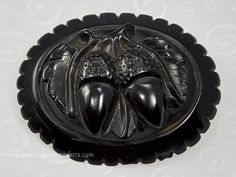 Victorian WHITBY JET Deeply Carved Acorns Mourning Brooch
