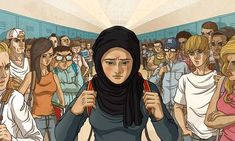 Illustration of Extreme Prejudice Muslim student faces stares and bullying Diversity In The Classroom, Religious Studies, Muslim Girls, Life Magazine, Anime Art Girl, Aesthetic Pictures, Religion, Teaching, Sophie Lopez