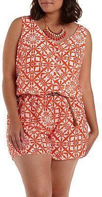 Plus Size Belted Button-Up Romper