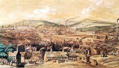 La città di Sheffield (Inghilterra) in una litografia del 1855