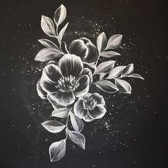 Flower Drawing Time to learn chalk art from an Insta-famous social celeb. Blackboard Art, Chalkboard Drawings, Chalk Drawings, Art Drawings, Flower Drawings, Chalkboard Designs, Chalkboard Restaurant, Chalkboard Wall Kitchen, Dragon Drawings