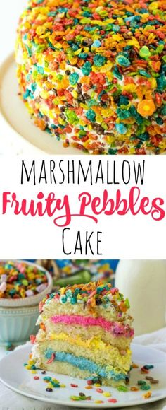 Marshmallow Fruity Pebbles Cake