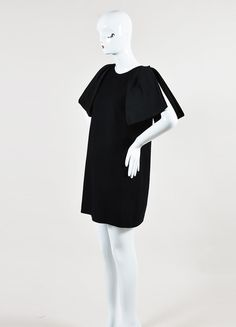Black Giambattista Valli Textured Wool Oversized Bow Sleeve Dress