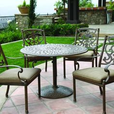 Darlee Santa Barbara 4-person Cast Aluminum Patio Dining Set - Antique Bronze by Darlee. $1006.85. Lightweight aluminum frame makes rearranging your furniture easy. Antique bronze powder coating is tougher than conventional paint finishes. Includes Umbrella Hole. Cast aluminum construction is naturally rust resistant. Set Includes: Dining Table, 4 Dining Chairs, Sesame-Colored Polyester Cushions. Darlee Santa Barbara 4-Person Cast Aluminum Patio Dining Set - Antique Bronze...