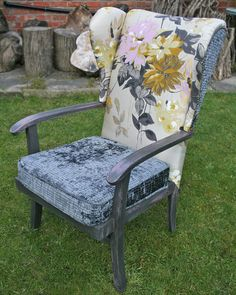 Parker Knoll chair, upcycled and re-upholstered using Designers Guild Portier Willow silk and Graphite Castellani, with Annie Sloan Chalk paint in Graphite and Emile. Sian Astley, Moregeous Design