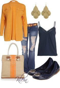 """Tangerine and navy"" by stacy-klein on Polyvore"