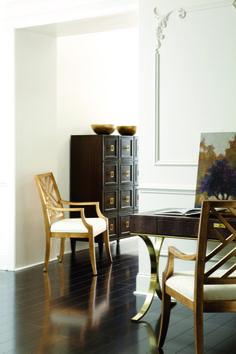 #HPMKT Gorgeous! Regal wood with gold trim feminine desk from @Bernhardt Furniture Jet Set Furniture Collection | Saxon Henry