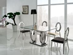 14 Unique Dining Room Table Ideas to Makeover Your Dining Area Furniture Style Round Dining Room Sets, Unique Dining Tables, Glass Round Dining Table, Dining Table Design, Dining Table Chairs, Glass Table, Dining Set, Round Glass, Esstisch Design