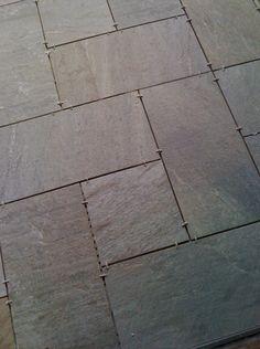 """Porcelain tile installation in Kiawah SC. Tile set in """"Pinwheel"""" pattern."""