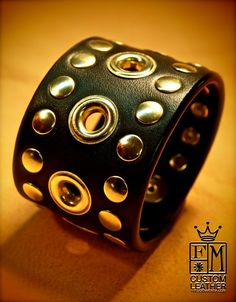 Leather cuff Bracelet Custom Made in NYC by by mataradesign