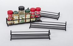 Set of 4 Black Wall-Mount Single Tier Spice Racks – Hanging Organizers for Pantry - Over Stove, Kitchen Cupboard, Under Cabinet and Closet Door Storage – by Unum *** More info could be found at the image url. Cabinet Spice Rack, Wall Mounted Spice Rack, Wall Mount Rack, Spice Racks, Spice Rack Organization, Spice Rack Organiser, Hanging Organizer, Hanging Racks, Closet Door Storage