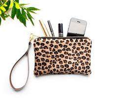 Leopard Leather Wristlet Leopard Zipper Purse by gmaloudesigns